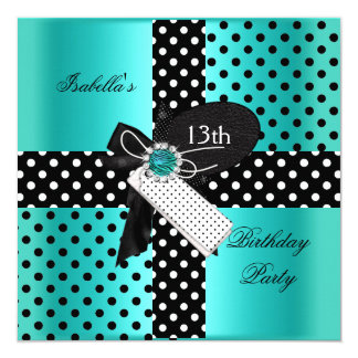 13th Birthday Party Polka Dots Teal Blue Card