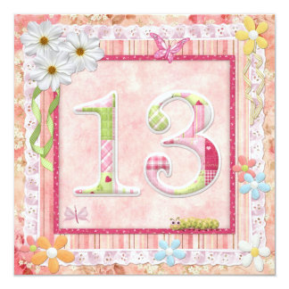 13th birthday party scrapbooking style 13 cm x 13 cm square invitation card