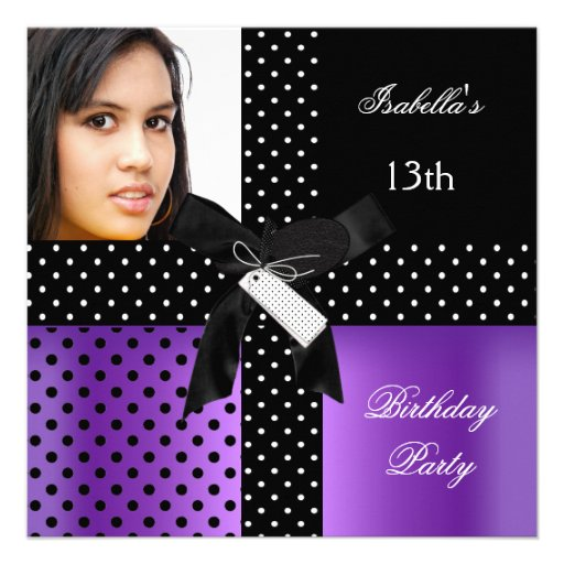 13th birthday party teenager girls personalized announcement