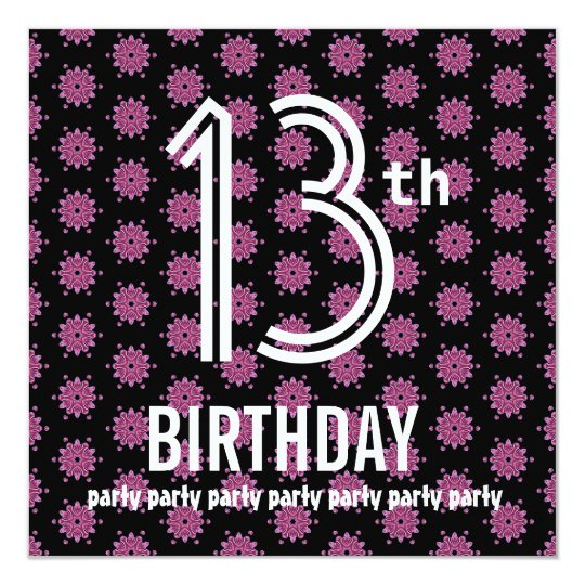 13th Birthday Party Template Pink Black V02 Card