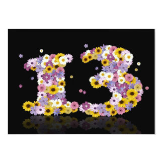13th Birthday party, with flowered letters 5x7 Paper Invitation Card