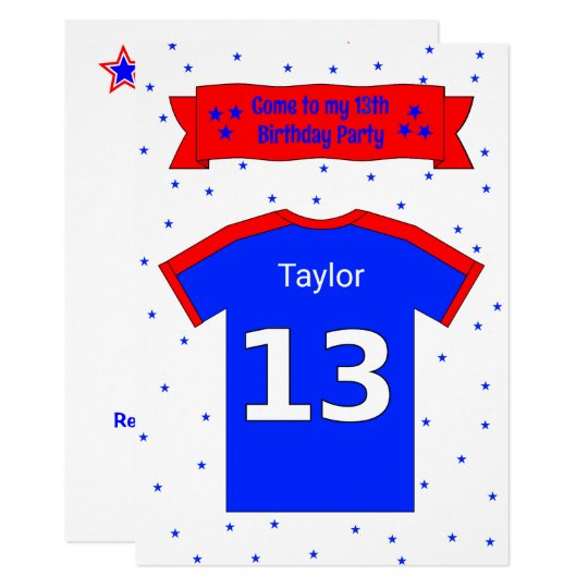 13th birthday personalised party invitation