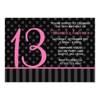 13th Birthday Pink and Black Polka Dot Stripes 13 Cm X 18 Cm Invitation Card