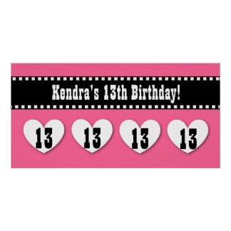 13th Birthday Pink Black Hearts Banner Custom V13H Posters