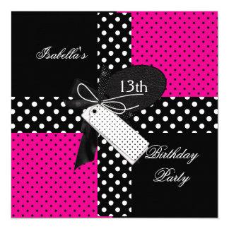 13th Birthday Polka Dot Hot Pink Black White 13 Cm X 13 Cm Square Invitation Card