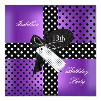 13th Birthday Polka Dot Purple Black White 2 13 Cm X 13 Cm Square Invitation Card
