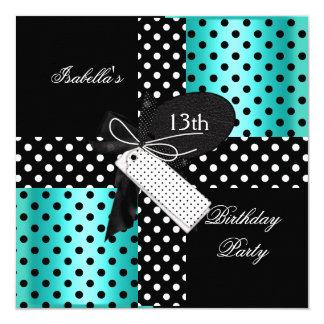 13th Birthday Polka Dot Teal Blue Black White 2 13 Cm X 13 Cm Square Invitation Card
