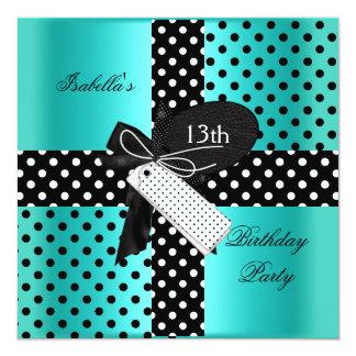 13th Birthday Polka Dot Teal Blue Black White Invite