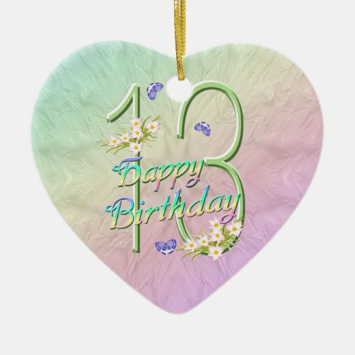 13th Birthday Rainbow Keepsake Heart Ornament