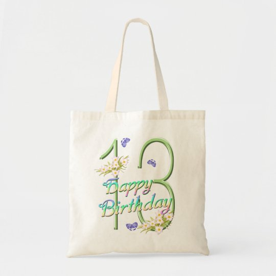 13th Birthday Rainbows and Butterflies Budget Tote