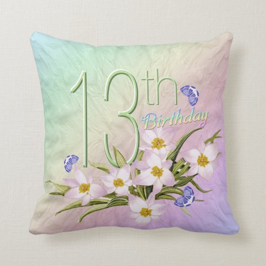 13th Birthday Rainbows and Wildflowers Cushion