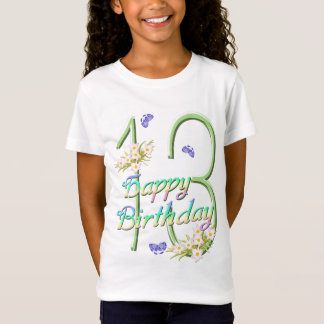 13th Birthday Shirt with Rainbows and Butterflies