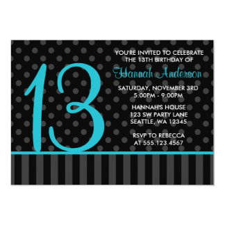 13th Birthday Teal Blue Black Polka Dot Stripes 13 Cm X 18 Cm Invitation Card