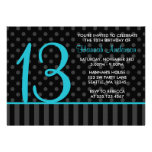 13th Birthday Teal Blue Black Polka Dot Stripes Personalized Announcement
