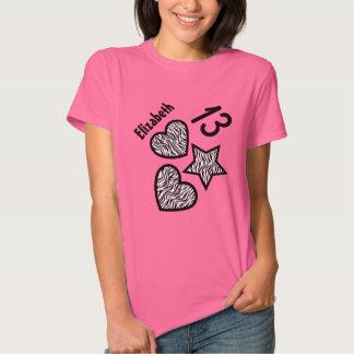 13th Birthday Zebra Star and Hearts Teen V01 PINK Tshirts