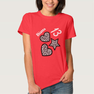 13th Birthday Zebra Star and Hearts Teen V03 RED Shirts