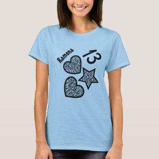 13th Birthday Zebra Star and Hearts Teen V04 BLUE T-Shirt