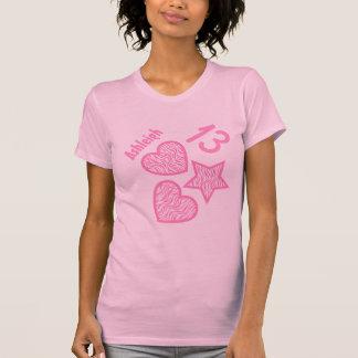 13th Birthday Zebra Star and Hearts Teen V07 PINK T-shirt