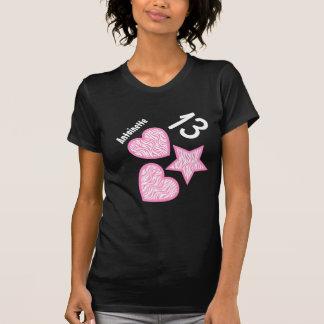13th Birthday Zebra Star Hearts Teen V09 PINK Tshirt