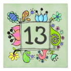 13th Doodles Colourful  Birthday Party Invitation
