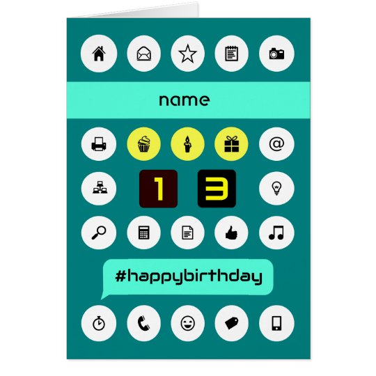13th hashtag computing birthday add name card