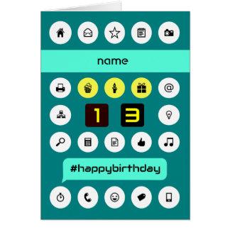 13th hashtag computing birthday add name greeting card