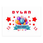 13th Save Date Birthday Balloons and Stars S11 Postcard