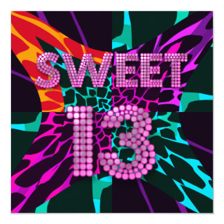 13th Sweet 13 Birthday Party Mixed Animal Print 13 Cm X 13 Cm Square Invitation Card