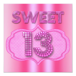 13th Sweet 13 Birthday Party Pink Polka Dots Card