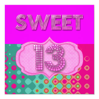13th Sweet 13 Birthday Party Pink Teal Modern Card