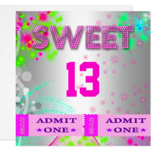 13th birthday invitations zazzle 13th sweet 13 birthday party tickets fun invitation filmwisefo