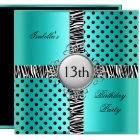 13th Teen Birthday Party Teal Blue Black Zebra Card