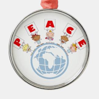 1407 Cartoon Different-Nationalities Stick kids Gr Christmas Ornament