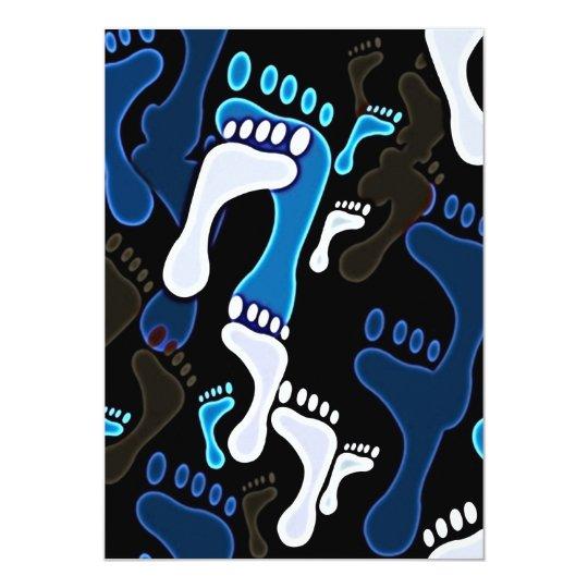 140 GROOVY BLUE BLACK WHITE FOOTSTEPS PATTERN BACK CARD