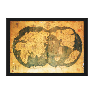 1418 Chinese World Map by Gavin Menzies Canvas Print