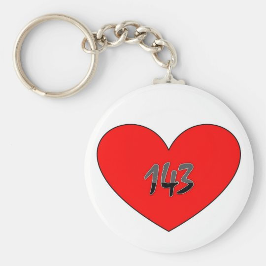 143 Means I Love You Basic Round Button Key Ring