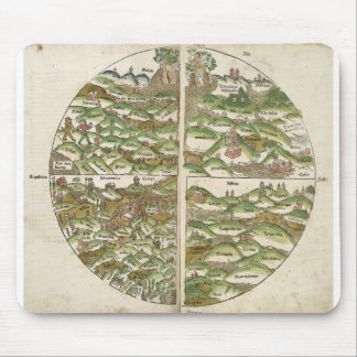 1475 Oldest Known Woodcut World Map Mousepads