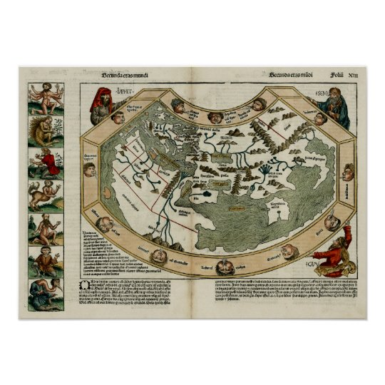 1493 World Map Poster