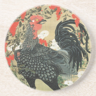 14. 南天雄鶏図, 若冲 Red Nuts and Rooster, Jakuchu Coaster