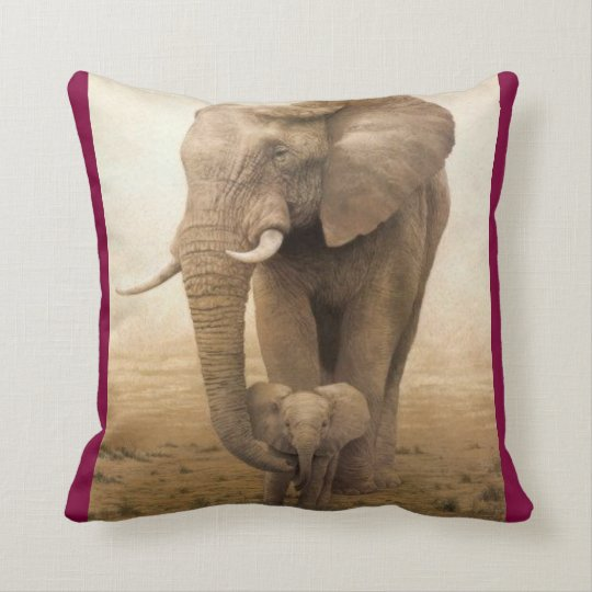 #14-Afican Elephant-cow and calf Cushion