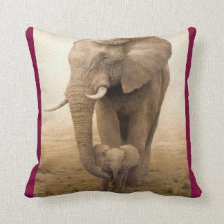14-Afican Elephant-cow and calf Throw Pillows