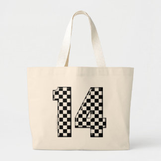 14 checkered auto racing number canvas bag