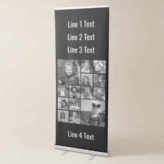 14 Square Photo Collage with Custom Text Retractable Banner