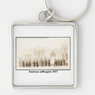 14 Suffragists, 1917 Silver-Colored Square Key Ring