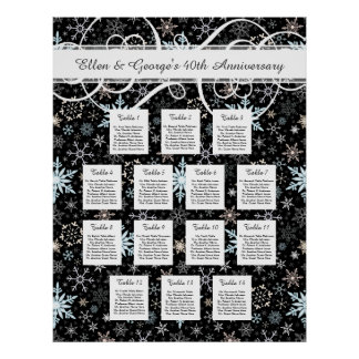14 Table Winter Wedding Snowflake Seating Chart