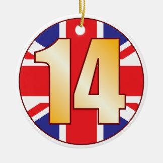 14 UK Gold Christmas Ornament