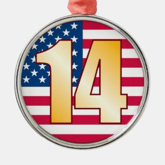 14 USA Gold Christmas Ornament
