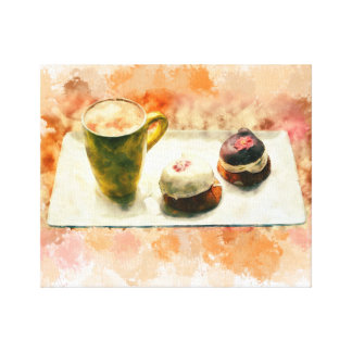 "14"" x 11"", 1.5"", Watercolor coffee cup and Dessert Canvas Print"