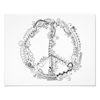 14 x 11 Photo of Illustrated Artsy Peace Sign