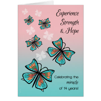 14 Year Miracle Addict Recovery Birthday Butterfly Card